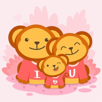 Happy monkey family posing together with the text i love you