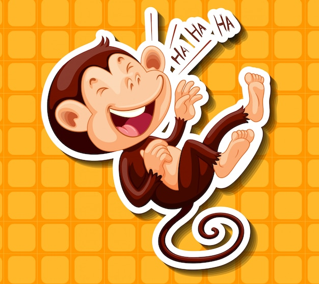 Happy monkey laughing alone