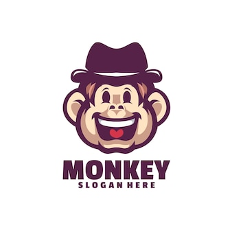白で隔離される幸せな猿のロゴ