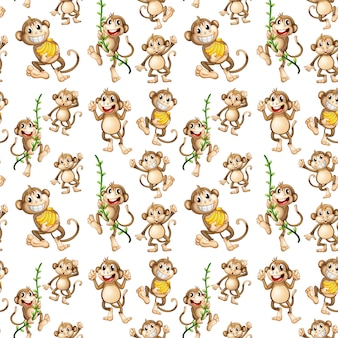 Happy monkey seamless pattern