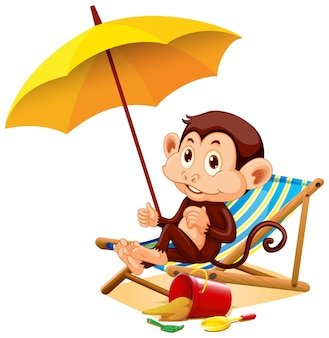 Happy monkey sitting under the umbrella