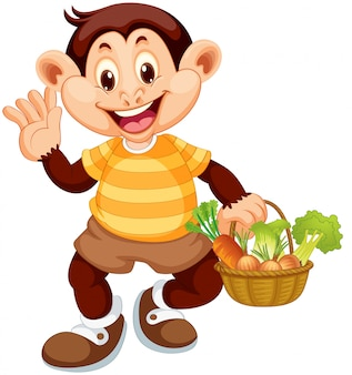 Happy monkey with vegetable basket