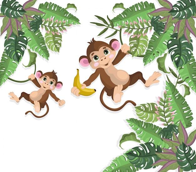Happy monkeys on palm trees vector illustration white background