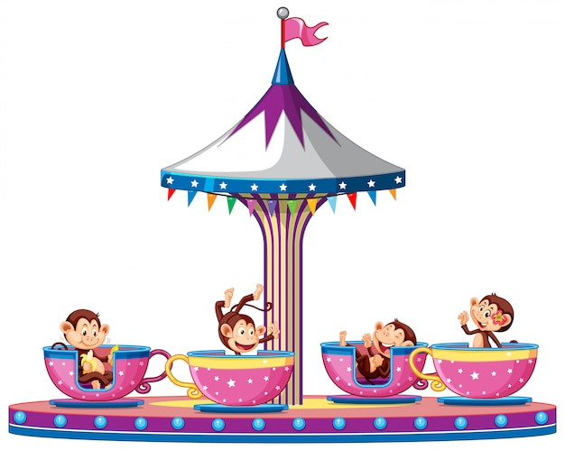 Scimmie felici che guidano le tazze nel circo