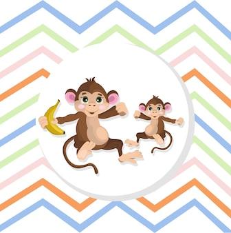 Happy monkeys vector illustration striped background