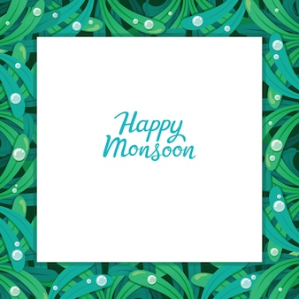 Happy monsoon frame with leaf pattern