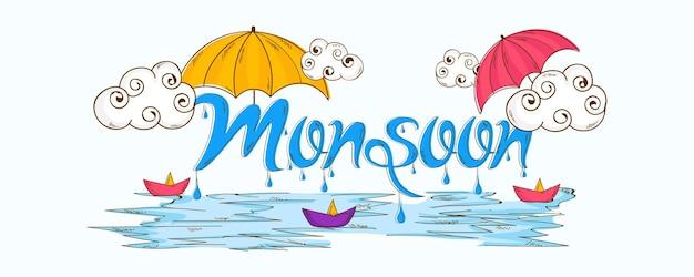 Happy monsoon season calligraphy creative hand drawn text.