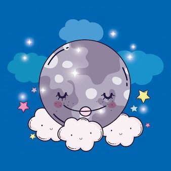 Happy moon and cute fluffy clouds with stars
