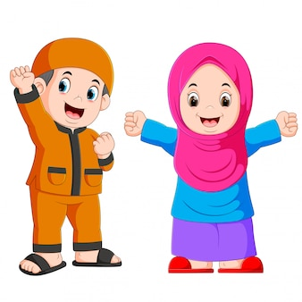 Happy moslem kid cartoon isolated on white background