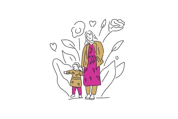 Счастливая мать и ребенок рисованной минималистичный иллюстрации