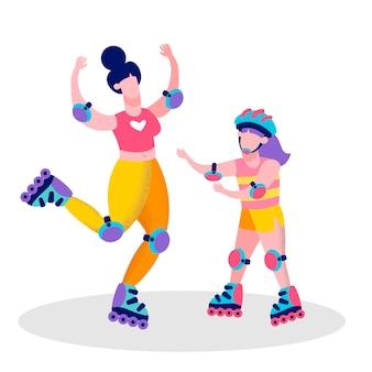 幸せな母と娘のローラースケートバナー