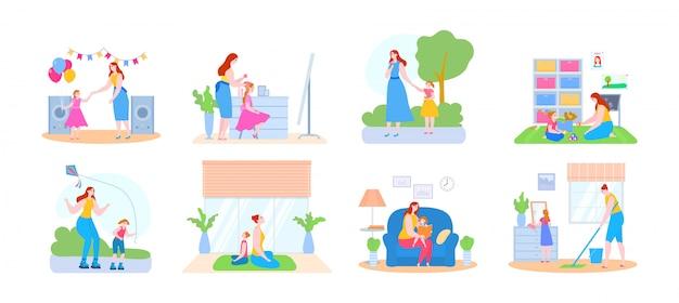 幸せな母と娘が一緒に遊んで、良質のママの時間のイラストを楽しんで時間を過ごしてコレクションを設定します。