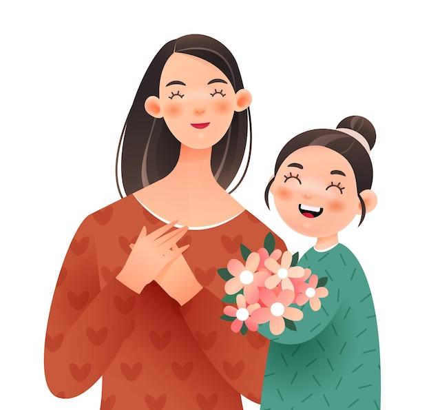 행복한 엄마와 딸. 소녀는 어머니에게 꽃다발을 줍니다.