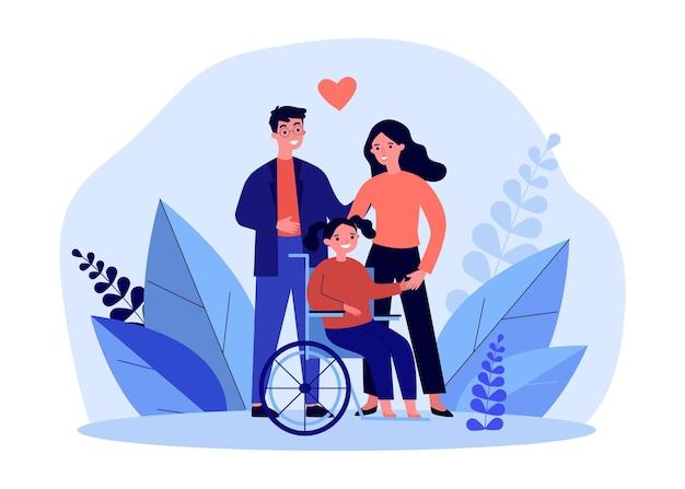 휠체어에 딸과 함께 행복 한 어머니와 아버지입니다. 장애인 소녀 평면 벡터 일러스트와 함께 남자와 여자. 가족, 배너, 웹 사이트 디자인 또는 방문 웹 페이지에 대한 장애 개념