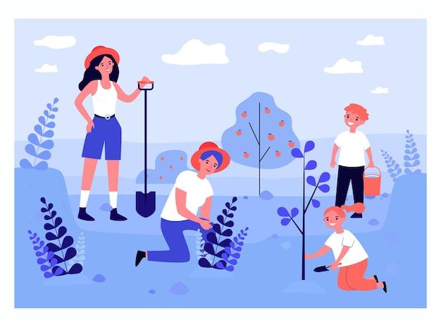Счастливая мать и дети сажают деревья плоские векторные иллюстрации. женщина, стоящая с лопатой, мальчик держит лейку. семья, сад, концепция экологии для баннера, дизайна веб-сайта или целевой веб-страницы