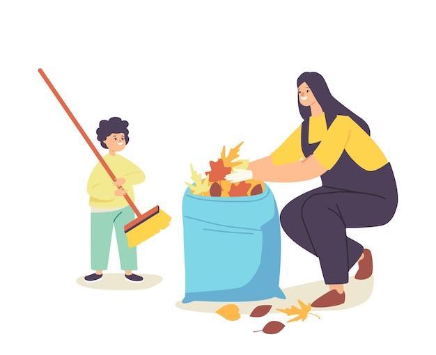 행복 한 엄마와 가방에 떨어진된 단풍을 수집 하는 작은 아기. 가족 캐릭터는 함께 즐거운 시간을 보내고 주말 정원 일과 청소를 하며 뒷마당을 청소합니다. 만화 사람들 벡터 일러스트 레이 션