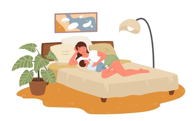 Happy mother breastfeeds hugs newborn baby lying in home bed infant kid drinking breast milk