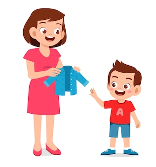 Happy mother buy clothes for her kid