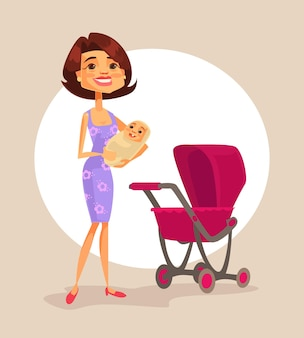 Happy mother character holding baby in hands, flat cartoon illustration