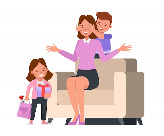 Happy mother and daughter character vector design for mother's day concept.