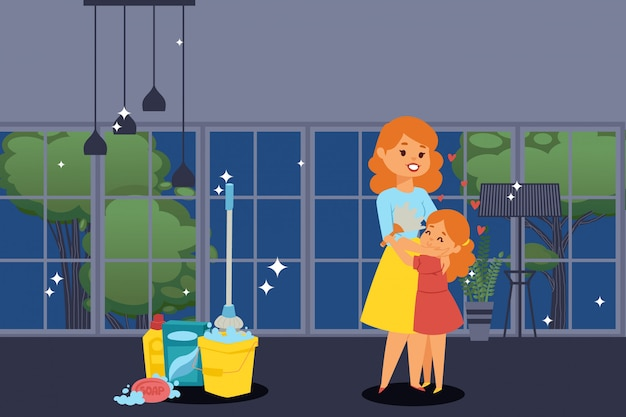Happy mother and daughter, people in clean apartment, girl helps her mom with chores