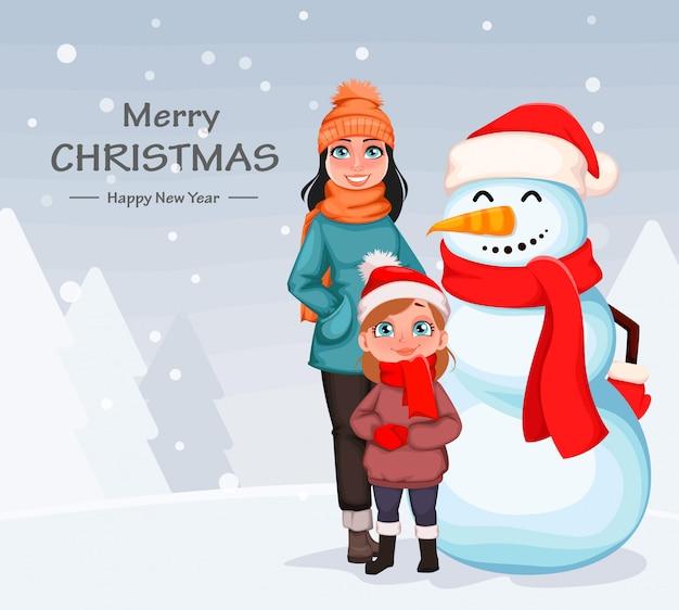 Happy mother and daughter standing with snowman