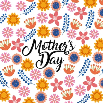 Happy mother day card with beautiful flowers