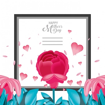 Happy mother day card with flower and frame square