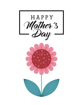 Happy mother day card with flower icon