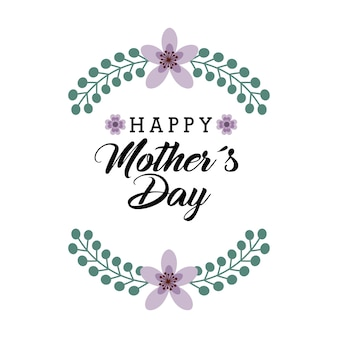 Happy mother day card with flowers