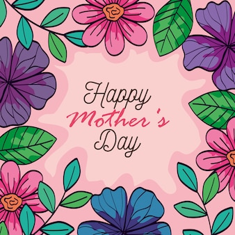 Happy mother day card with frame of flowers decoration vector illustration design