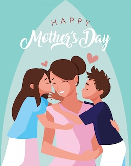 Happy mother day card with mom and children