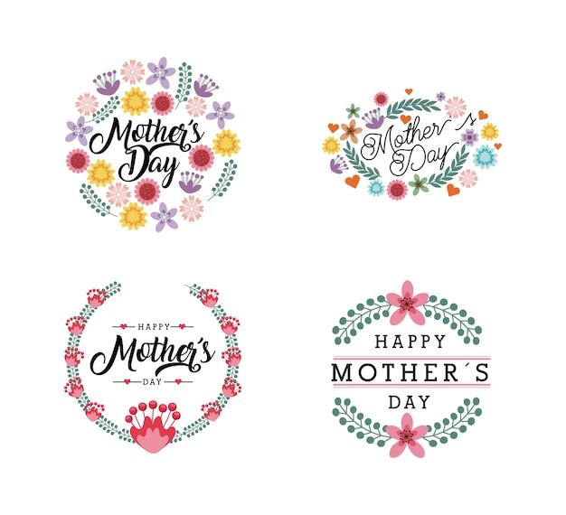 Happy mother day cards with flowers