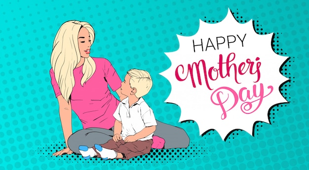 Happy mother day greeting card, mom embrace son over pop art retro pin up background