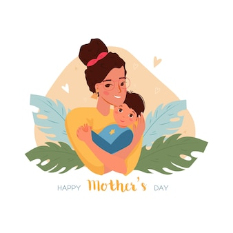 Happy mother day greeting card with mother holding baby son in arms with leaves
