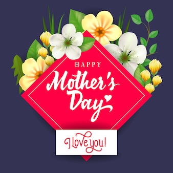 Happy Mother Day I Love You lettering. Mothers Day greeting card.