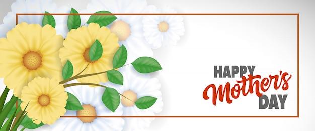 Happy mother day lettering in cornice con fiori gialli. biglietto di auguri per la festa della mamma