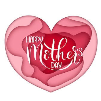 Happy mother day lettering. greeting card design. hand drawn text on heart background