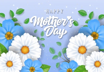 Happy Mother Day lettering with beautiful flowers. Mothers Day greeting card