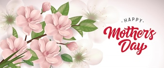 Happy Mother Day lettering with blooming twig. Mothers Day greeting card.