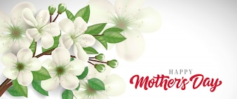 Happy Mother Day lettering with blossoming twig. Mothers Day greeting card.