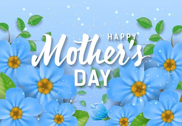 Felice giorno della mamma lettering con fiori blu. biglietto di auguri per la festa della mamma