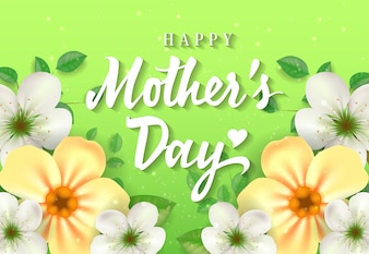 Happy Mother Day lettering with flowers on green background. Mothers Day greeting card.