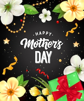 Happy Mother Day lettering with gift and flowers. Mothers Day greeting card