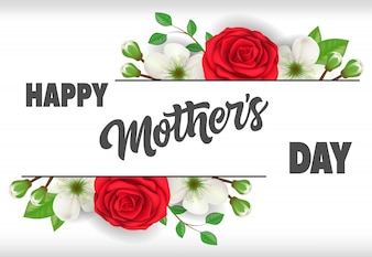 Happy Mother Day lettering with roses. Mothers Day greeting card.