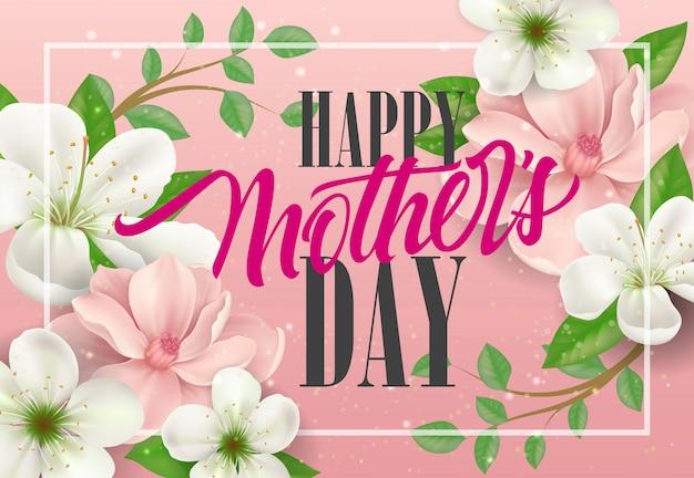 Felice giorno della mamma lettering con ramoscelli di primavera su sfondo rosa