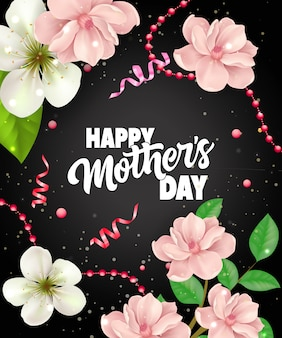 Happy Mother Day lettering with streamers and flowers. Mothers Day greeting card.