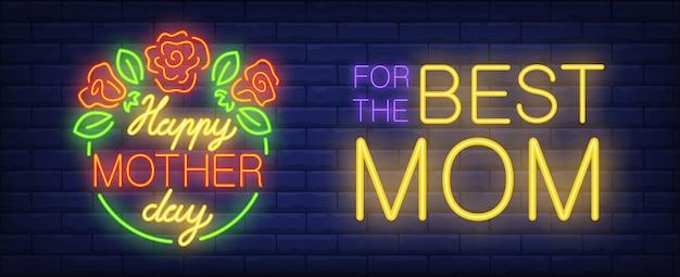 Insegna al neon felice di giorno di madre. cerchio verde con rose e foglie. per il miglior lettering di mamma.