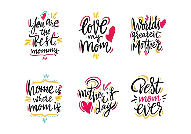 Happy mother day set lettering. isolated.