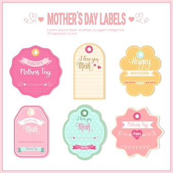 Happy mother day, spring holiday greeting card sticker set